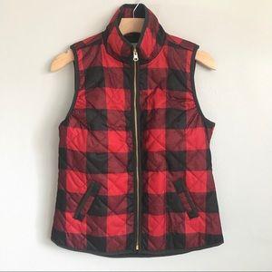 OLD NAVY Red & Black Checkered zipper Vest